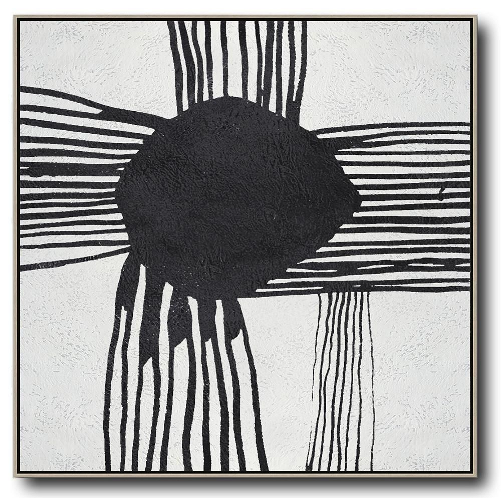 Minimal Black And White Painting Mn103a Black And White Artwork Black And White Artist White Canvas Art
