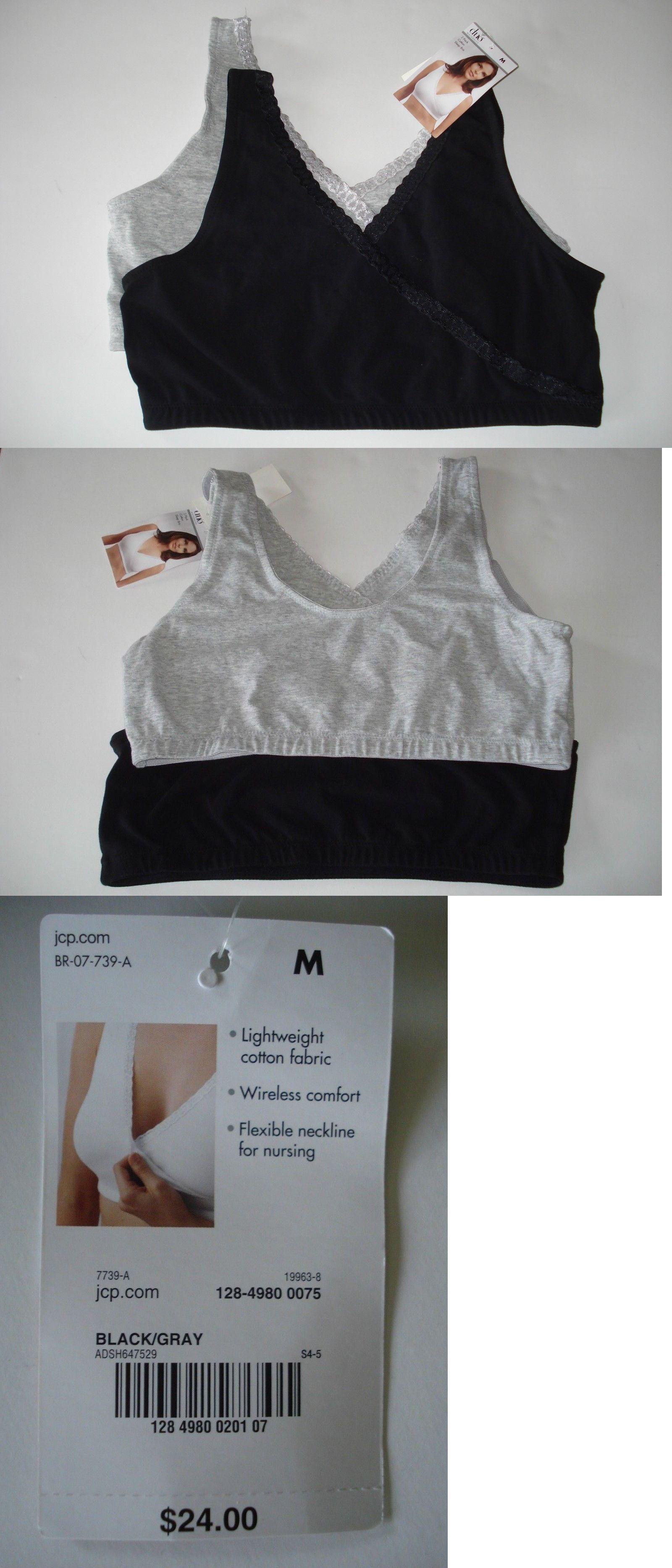 42b8d47627 Bras 11517  Duo Maternity 2 Pack Sleep Bra Nursing Cotton Black And Gray  Size Medium