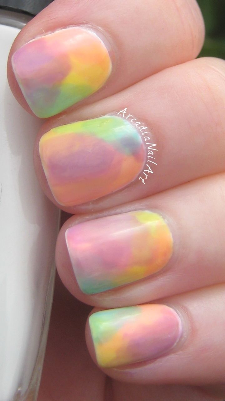 Easy watercolour nails created by making my own versions of the OPI ...