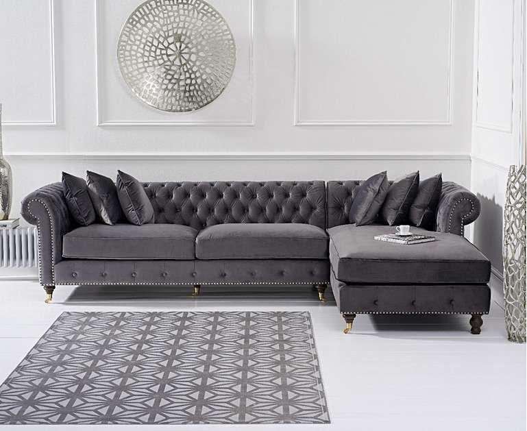 Astounding Flora Grey Velvet Right Facing Chaise Sofa Home Decor In Andrewgaddart Wooden Chair Designs For Living Room Andrewgaddartcom