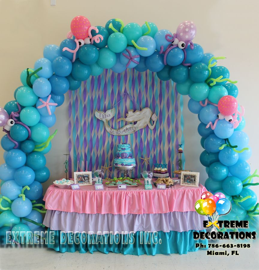 Little mermaid under the sea balloon arch cake table for Ariel birthday decoration ideas