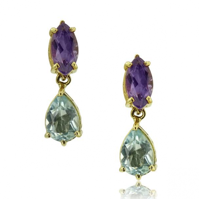 Yellow Gold Petit Earrings With Marquise Cut Amethyst And Pear Cut Blue Topaz