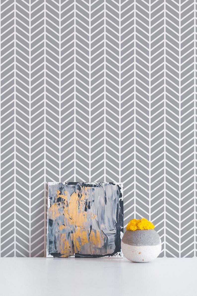 Herringbone Removable Wallpaper Geometric Peel And Stick Etsy Removable Wallpaper Peel And Stick Wallpaper Herringbone Tile
