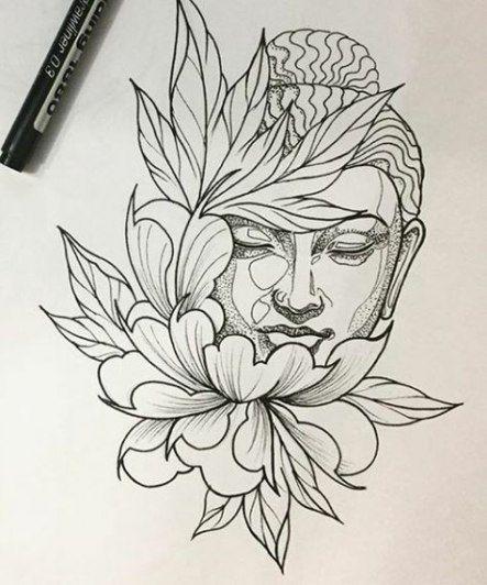 Buddha Face Tattoo Line Art