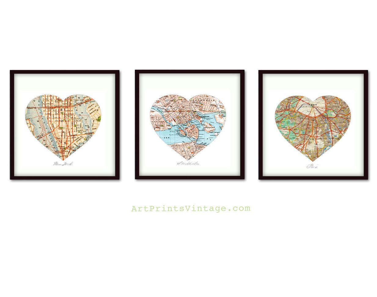 3 Personalized Map Art, Heart Map Prints, Custom Wedding
