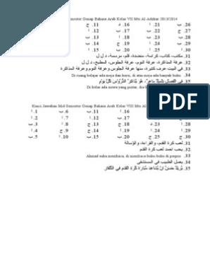 Kunci Jawaban Mid Semester Genap Bahasa Arab Kelas Vii Mts Al Bahasa Bahasa Arab