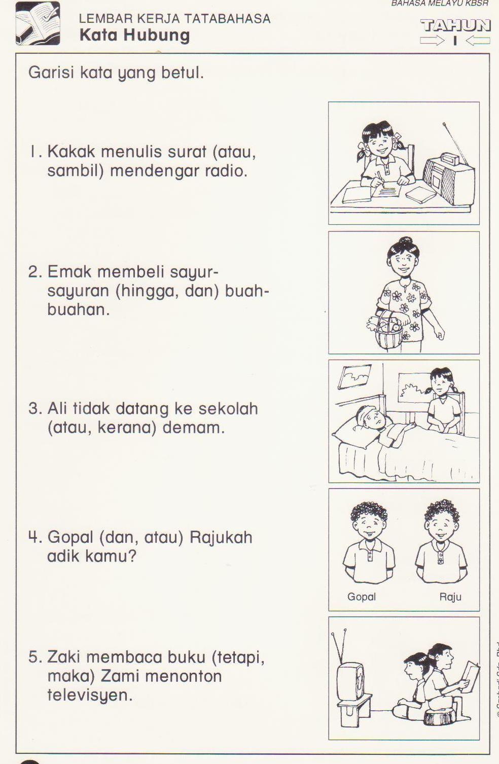 Latihan Kata Hubung 3 Jpg 984 1 506 Pixels Preschool Learning Activities Tutoring Business Malay Language