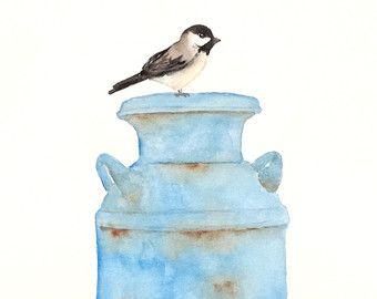 Chickadee original watercolor painting 10 x 8 in by ORIGINALONLY