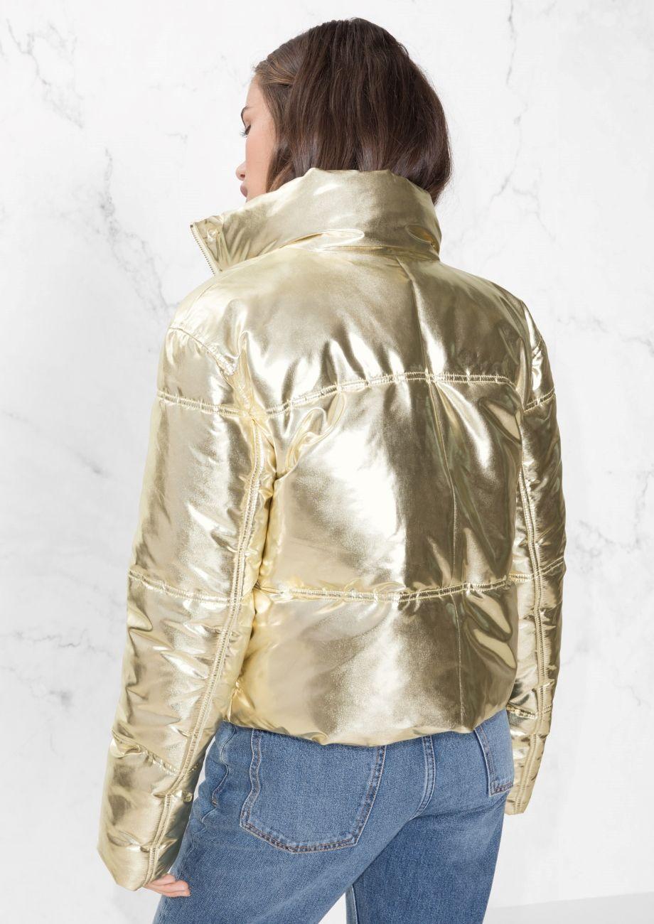 Other Stories Image 3 Of Metallic Puffer Jacket In Gold Jackets Coats Jackets Women Puffer Jackets [ 1300 x 920 Pixel ]