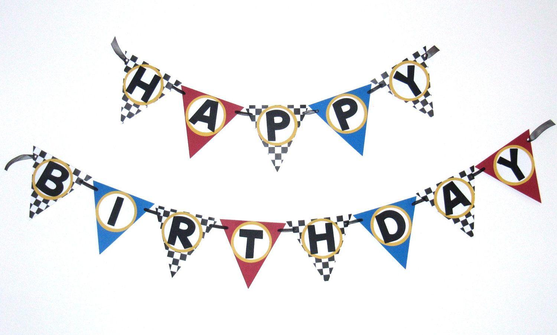 Race Car Birthday Banner Race Car Birthday Party Pinterest