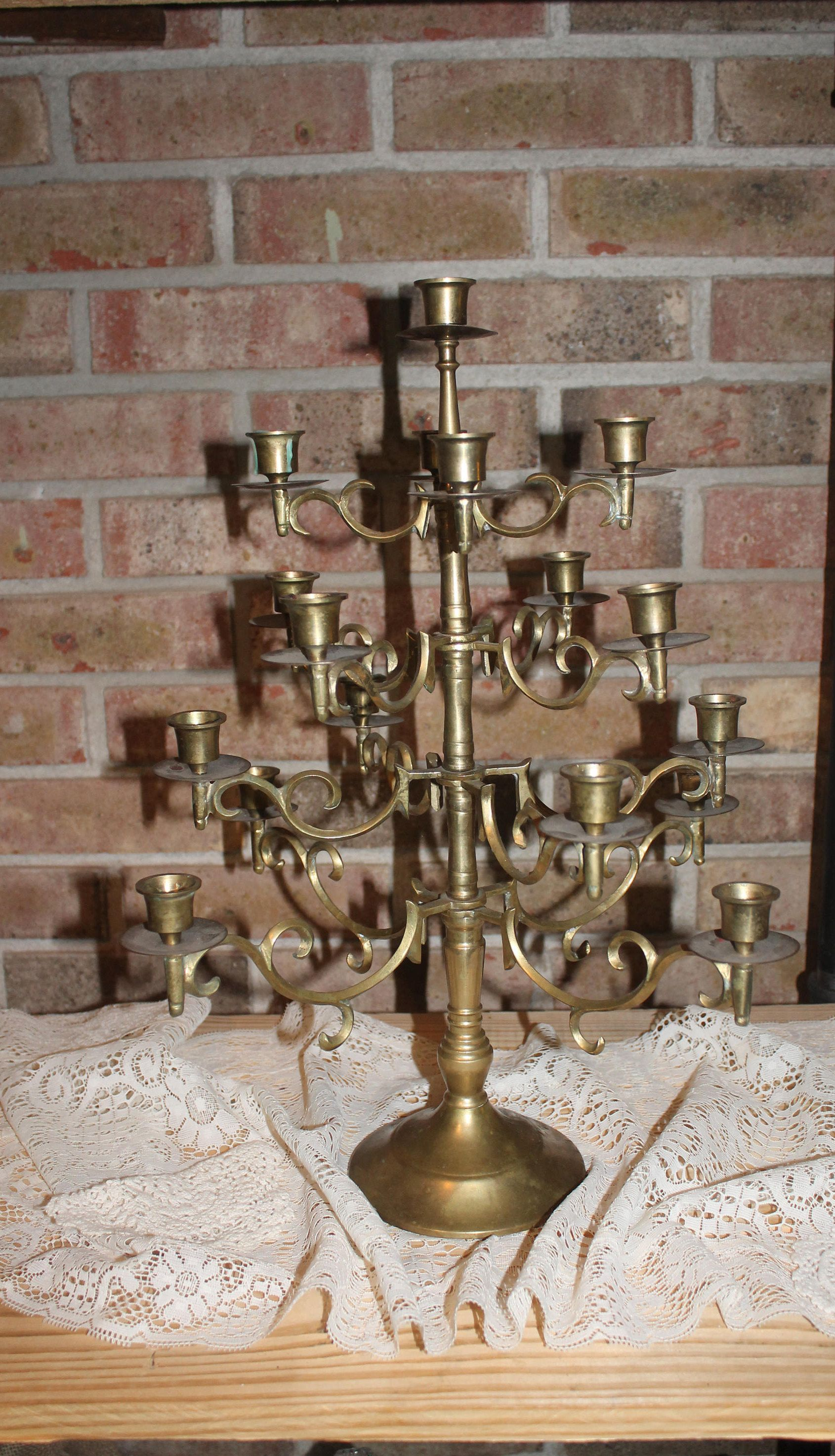 Large vintage brass candelabrasixteen arm candelabra17 candle large vintage brass candelabrasixteen arm candelabra17 candle brass candelabrabrass candle holder by littlemossylane on etsy aloadofball Choice Image