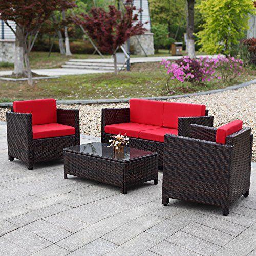 Ikayaa Garden Sofa Set Patio Furniture Set Lawn Sofa Couch Set