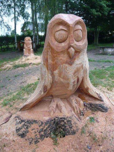 Tiere Mit Der Kettensäge Geschnitzt Garten Wood Crafts Tree