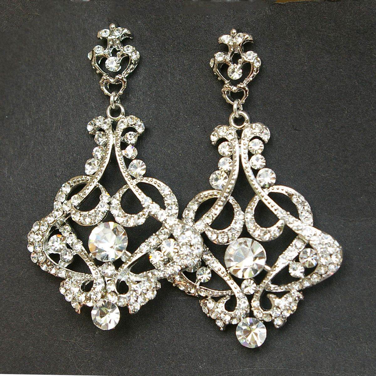 The cressida earrings feature rhinestone crest shaped posts jewelry rings and things crystal chandelier bridal earrings vintage style chandelier wedding earrings victorian style statement bridal earrings cressida mozeypictures Image collections