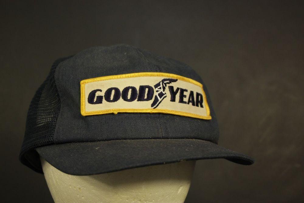 Vintage Goodyear Patch Mesh Trucker Hat Cap Retro Snapback Blue USA MADE   Swingster  Trucker cfc6f49c2119