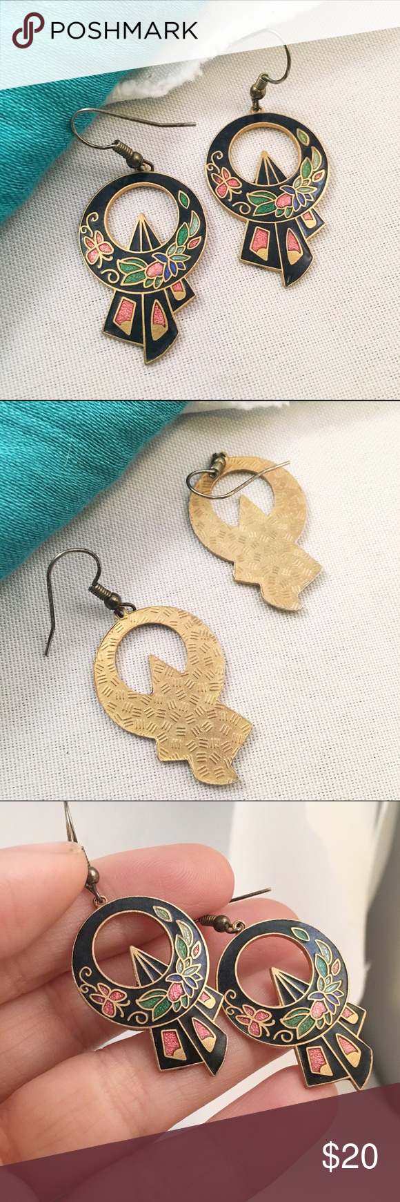 """VINTAGE Cloisonné Buckle Drop Earrings From the late 1980s. Great design. Enamel in mint condition. Approx 2"""" drop💕 Vintage Jewelry Earrings"""