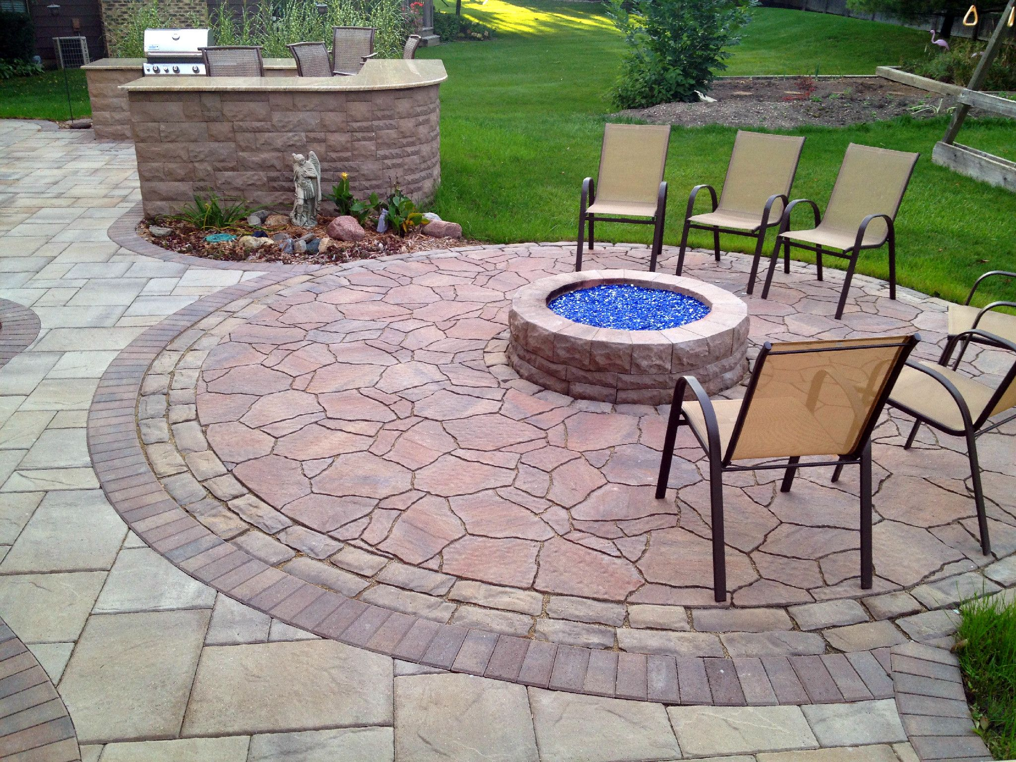 Patio Design With Outdoor Kitchen And Gas Fire Pit By Palatine, IL Patio  Builder