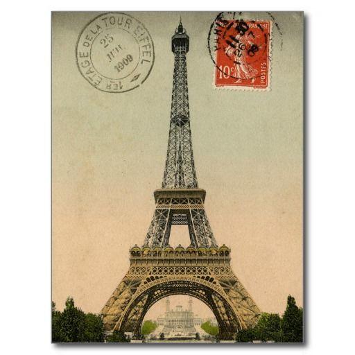 Vintage French Chic Eiffel Tower Paris Postcard