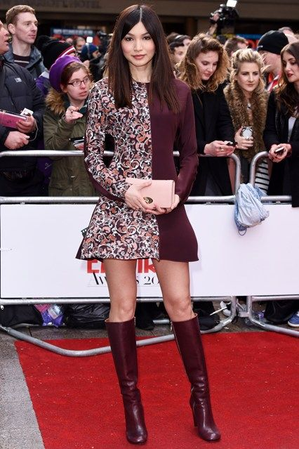 fb2752de4e5a Gemma Chan in Mulberry   Gemma Chan   Dresses, Skirts with boots, Boots