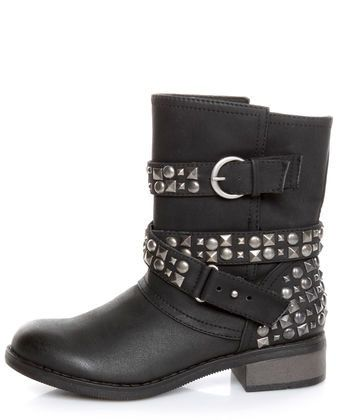 Dirty Laundry Showstopper Black Studded Motorcycle Boots My