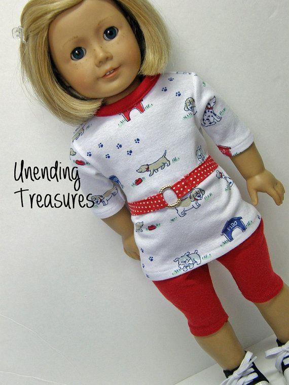 "Striped Top//Black Capri Leggings for 18/"" Doll Clothes American Girl"