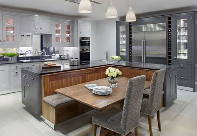 beautiful kitchen with black and wood design kitchen seating home kitchens kitchen design on kitchen island ideas eat in id=61317