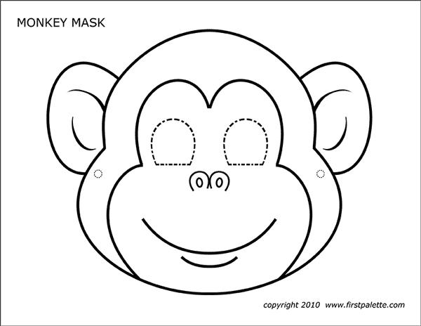 Monkey Mask Free Printable Templates Coloring Pages Firstpalette Com Monkey Mask Coloring Mask Animal Masks For Kids