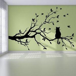 Cat Branch Birds Tree Modern Pretty Bedroom Wall Sticker Art Design ...
