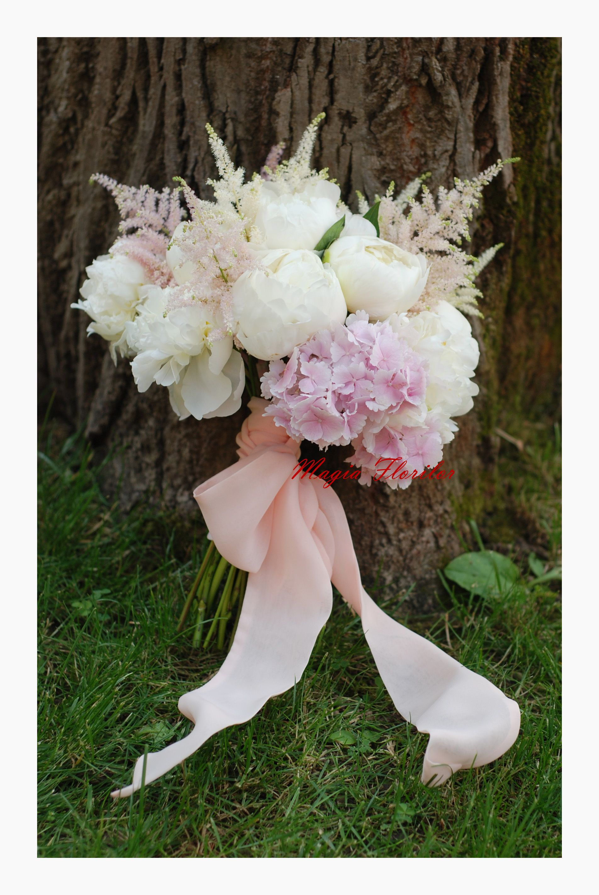 Perfection! White peonies, astilbe and pink hydrangea.