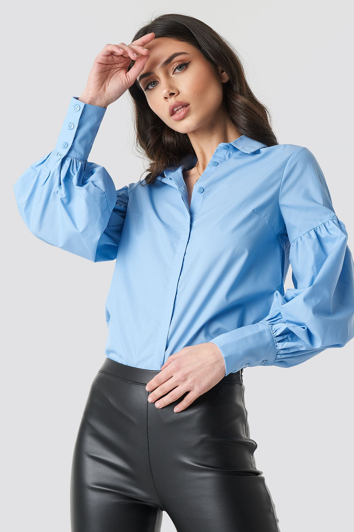 cd02c7ff95baf Trendyol Milla Balloon Sleeve Shirt - Blue | Yaya in 2019 | Shirt ...