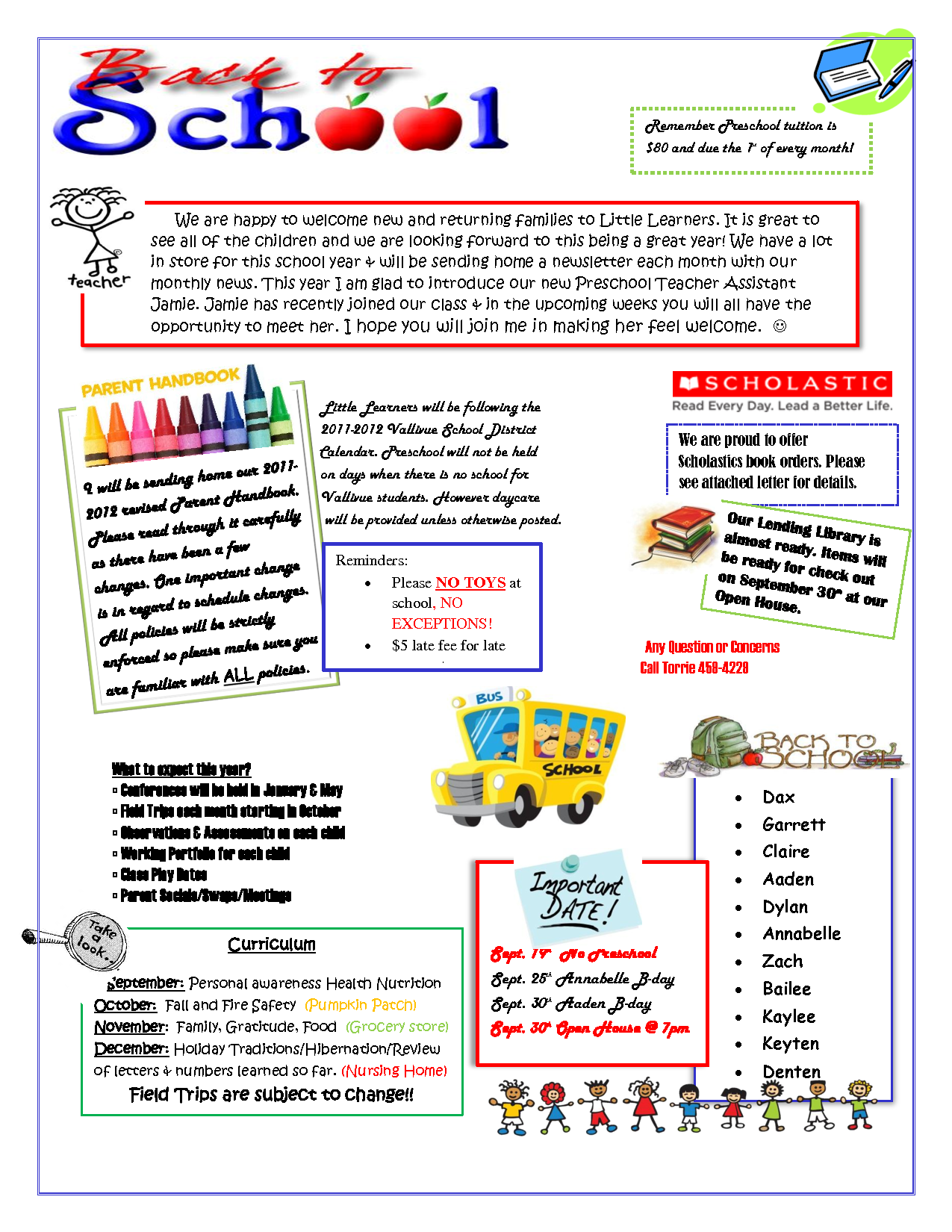 September Preschool Newsletter Template M