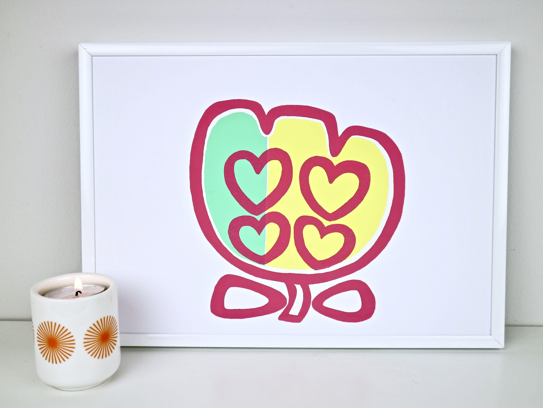 A4 Tulip Art Print Colourful Wall Art Rainbow Nursery Print