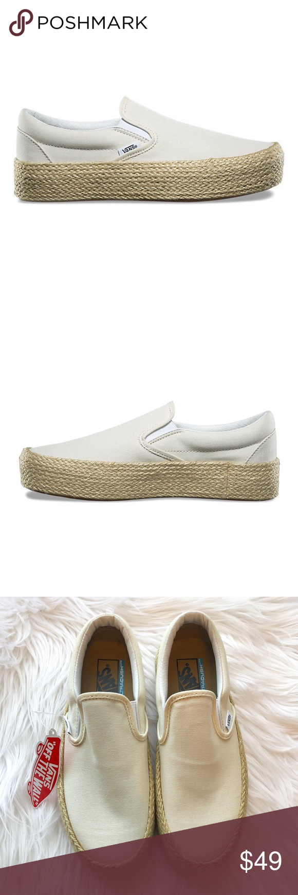 e58dbfa88d NIB    Vans Slip-On Platform Espadrille Sneaker NIB Vans Slip-On Platform  Espadrille Sneakers in Marshmallow. Women s US 7 The Vans Classic Slip-on  Platform ...