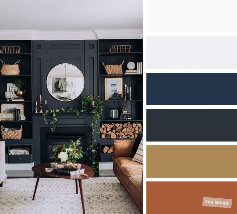The Best Living Room Color Schemes Brown Gold Dark Blue Palette Blue Living Room Color Brown And Blue Living Room Brown Living Room