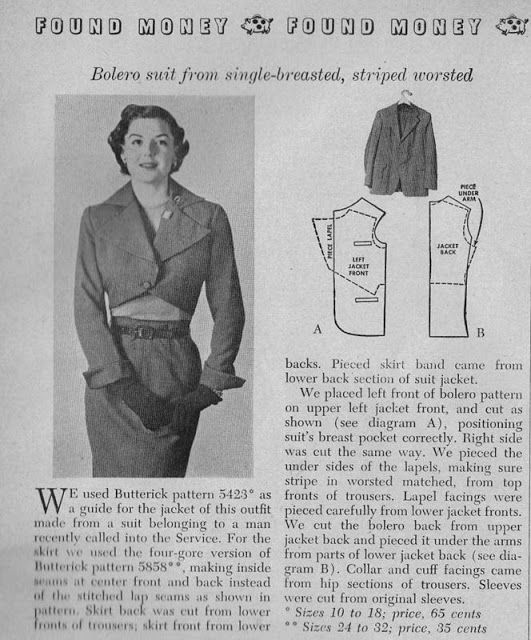 Organized Clutter: Recycling a Man\'s Suit 1951 | Pattern Making and ...