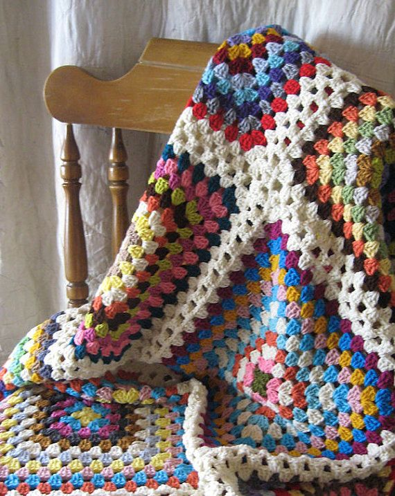 SALE 50% off Granny Square Afghan Blanket Traditional Large Multicolor Granny Squares with Cream Border - Full Queen Size
