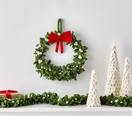 Large Felted Wool Mistletoe Wreath Christmas Decorations
