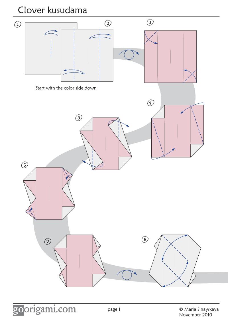 Clover Kusudama By Maria Sinayskaya Diagram Go Origami Flowers Instructions Diagrams