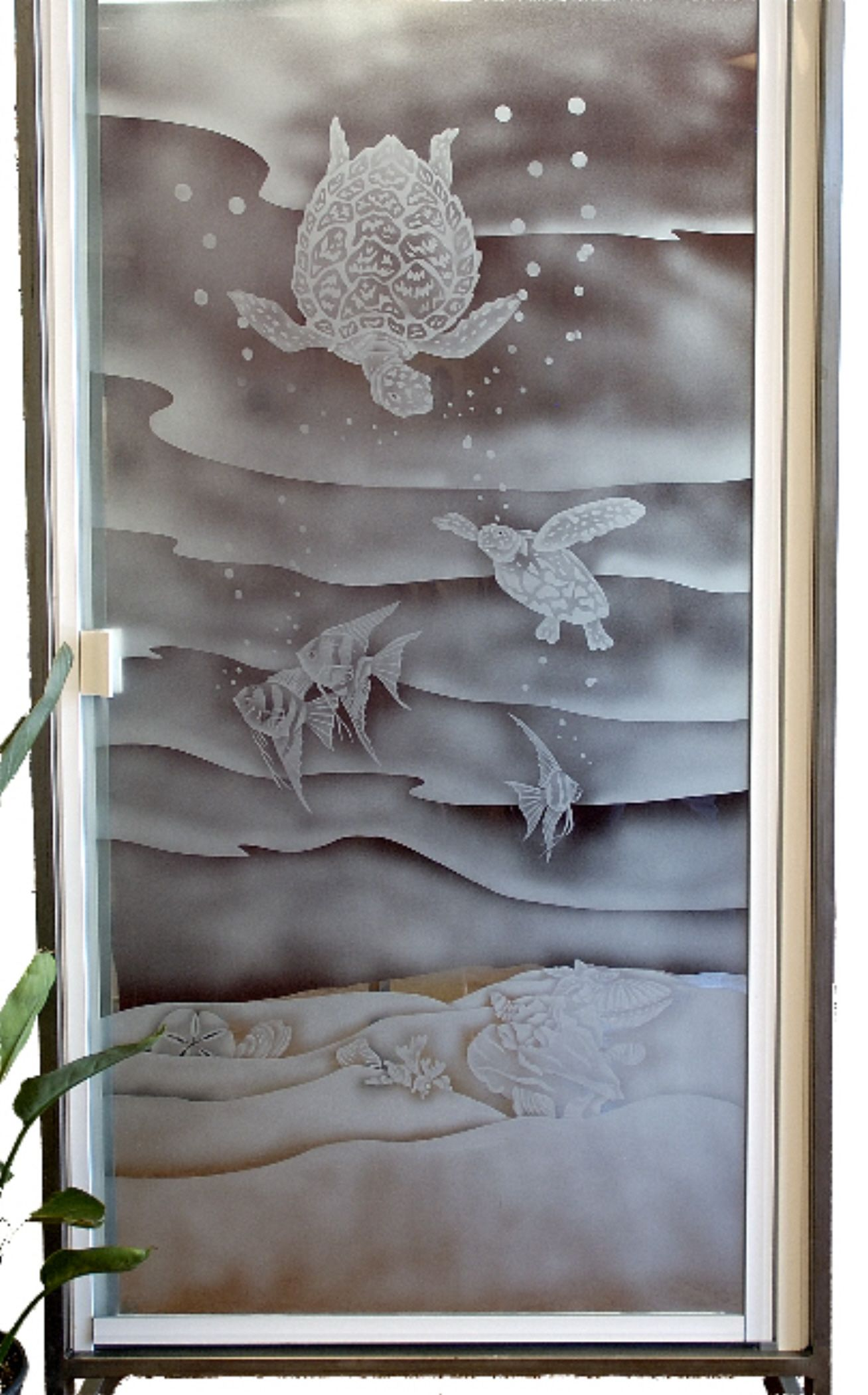 Everyone Loves Sea Turtles This Shower Door Is Shade Etched With An Underwater Sea Turtle Design On Etched Glass Shower Doors Shower Doors Glass Shower Panels