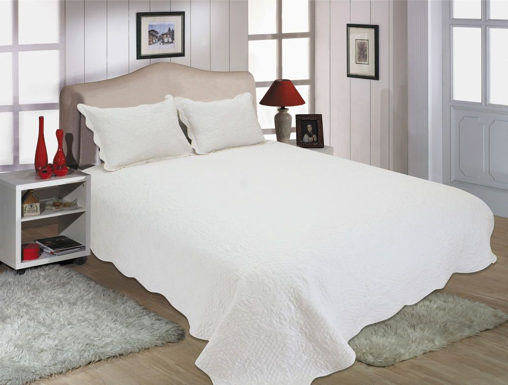 All For You Reversible Quilt Set Bedspread And Coverlet White Fullqueen 3