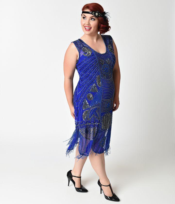 Unique Vintage Plus Size 1920s Style Royal Blue Beaded Fringe Bosley Flapper Dress Halloweencost With Images Plus Size Vintage Dresses 1920s Fashion Dresses 1920s Fashion