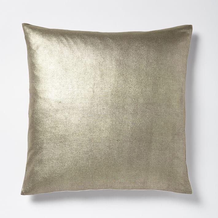 Solid Metallic Pillow Cover Mocha Gold Throw Pillows Velvet Modern