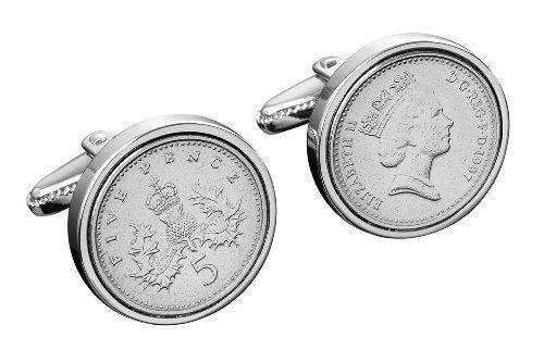 Five Pence Year Coin Cufflinks 16th Birthday  18th Birthday  21st Birthday