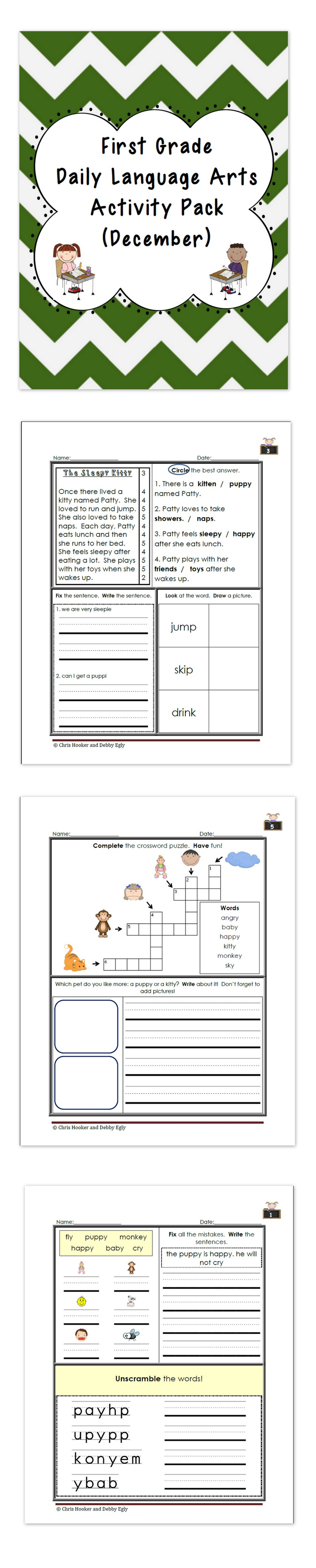 1st Grade Language Arts Worksheet Pack December Common