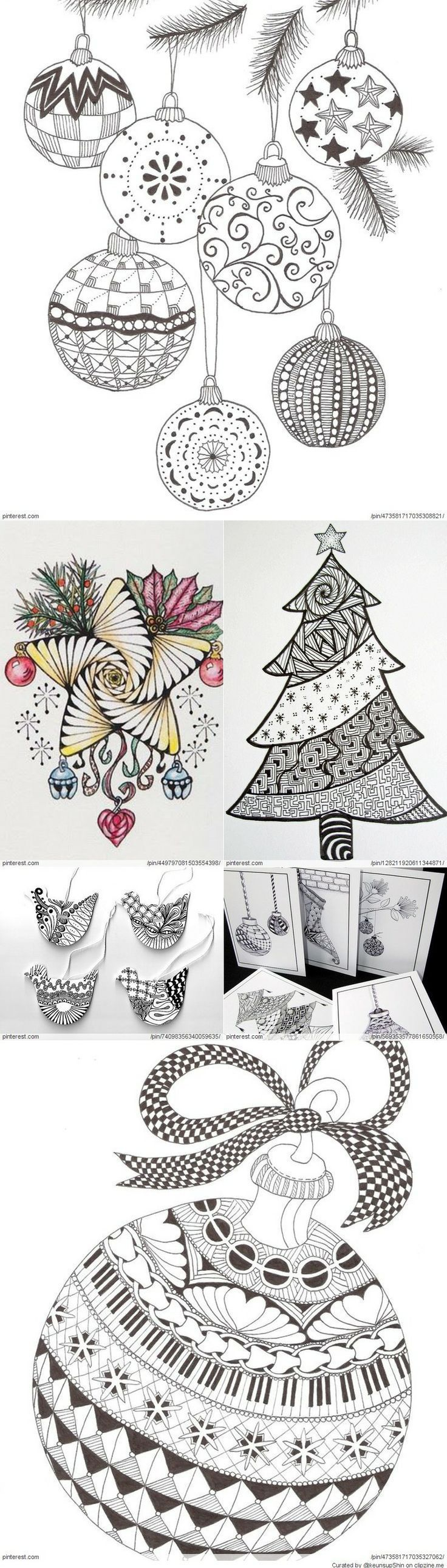 Zentangle Ornaments Zentangle Patterns Christmas Doodles Christmas Art
