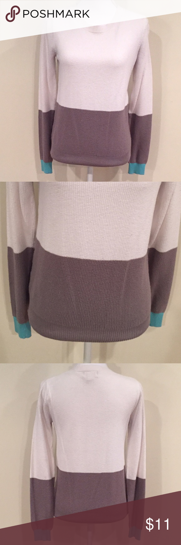 Sweater White, Gray & Teal Sweater •size medium •bottom of sleeves are teal •tags have been removed  Only worn a handful of times, in good condition✨🎀 Sweaters
