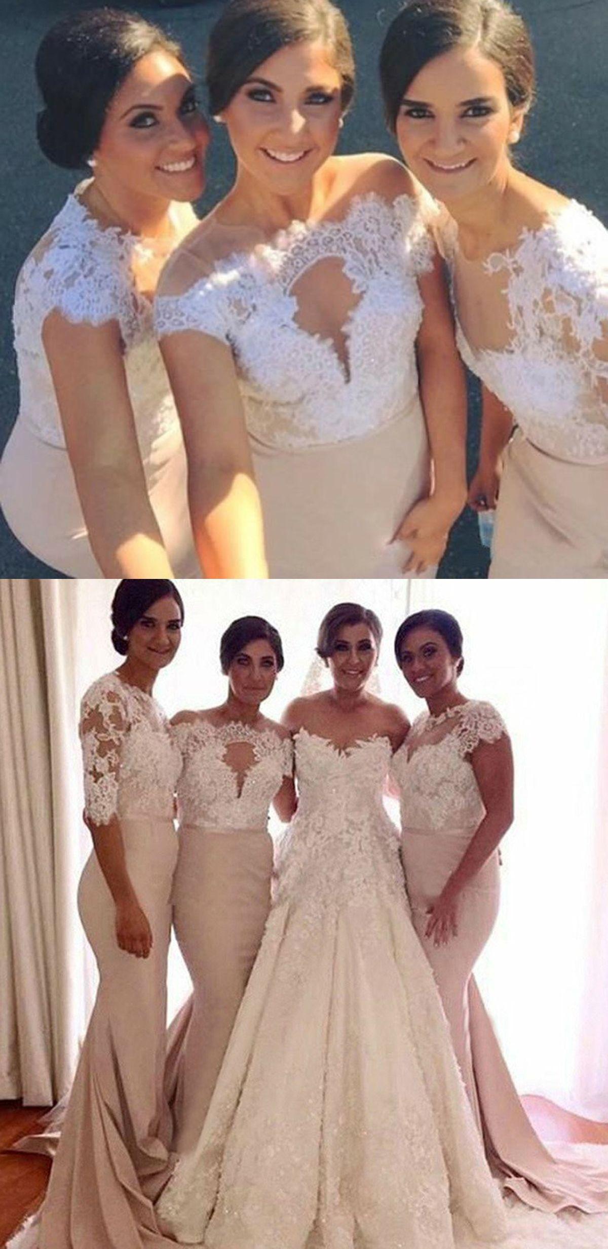 2b5c8c7bb4c Mermaid Jewel Half Sleeves Light Champagne Bridesmaid Dress with Appliques