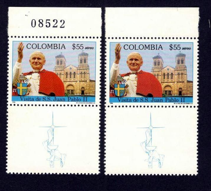 Colombia 1986, Pope John Paul ll, 1 Stamps with Number lot 2 Stamps Taenia , MNH