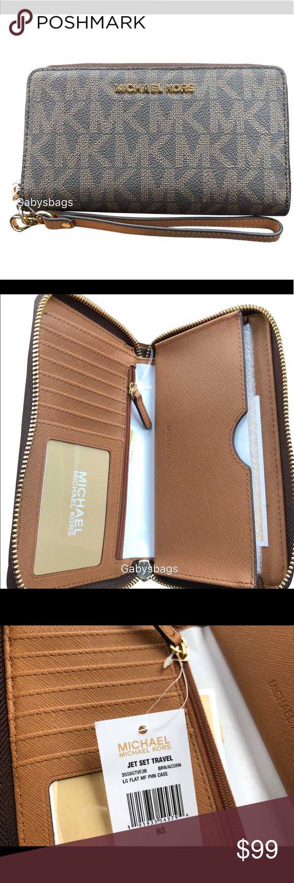 0e6cfefc9cb55e Michael Kors Large Phone Wristlet Brown MK Acorn Color: Brown Zipper  Closure 6 card slots/1 ID Window/1 zip coin compartment 1 phone pocket fits  iPhone 8 ...