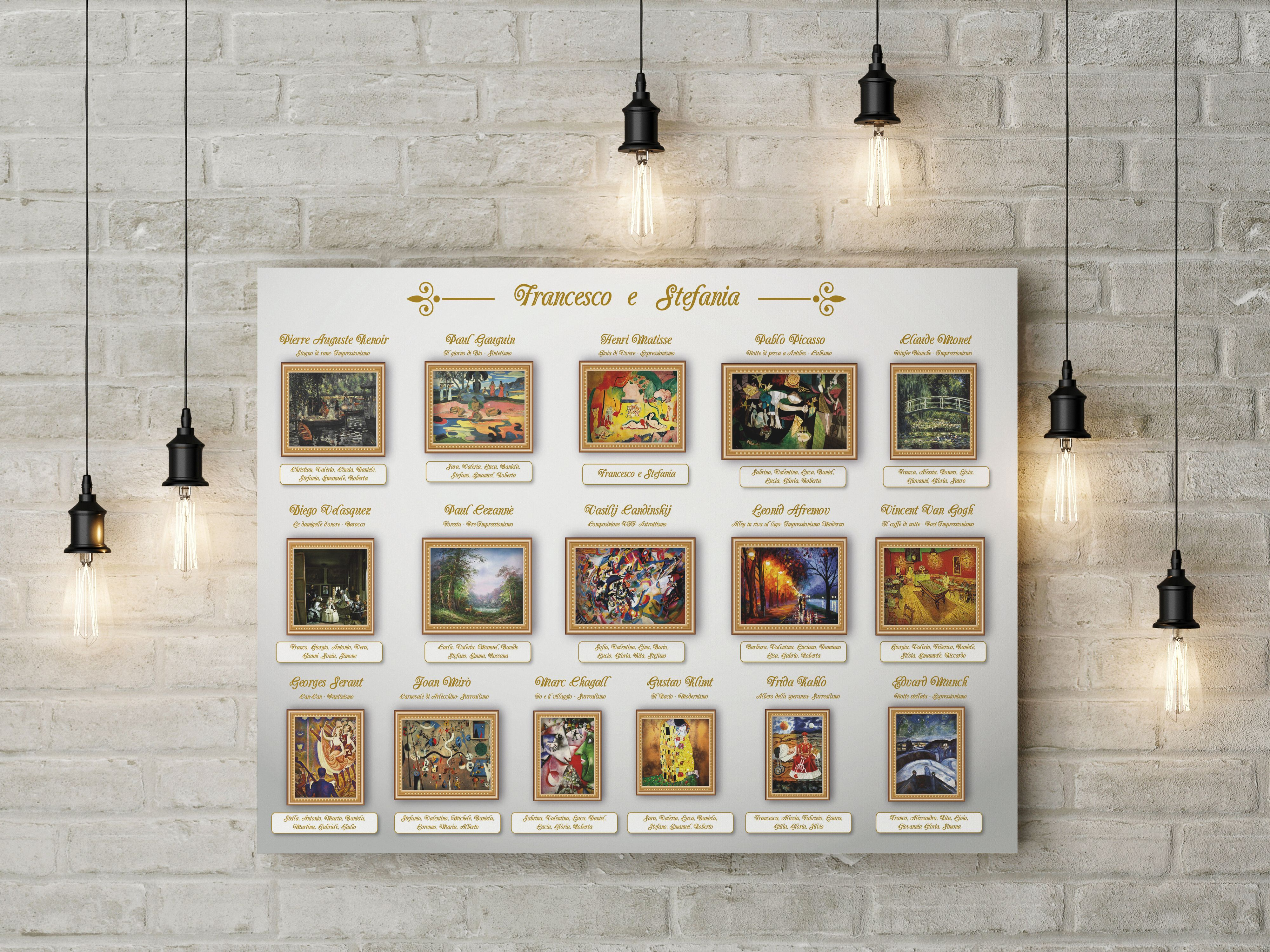 Matrimonio Tema Arte : Tableau tema arte e pittori per matrimonio wedding